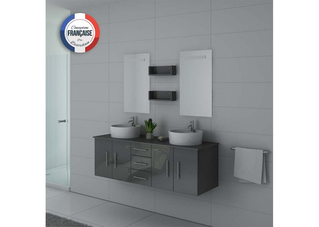 Meuble double vasque gris meuble suspendu double vasque for Salle de bain design gris