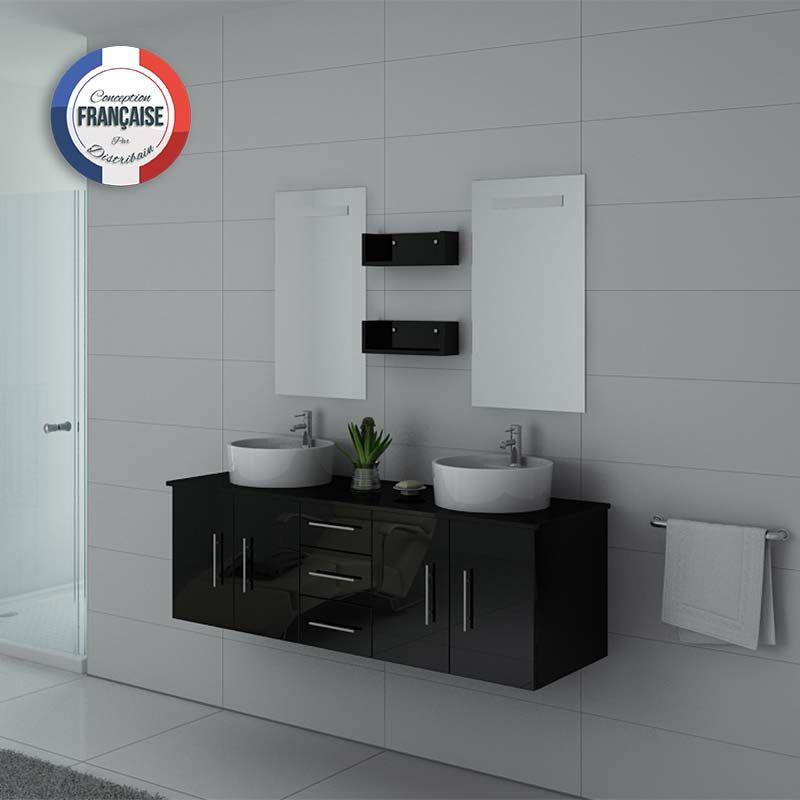 meuble de salle de bain double vasque noir suspendu. Black Bedroom Furniture Sets. Home Design Ideas