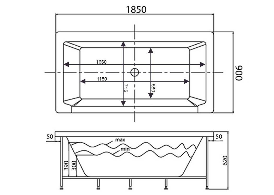 Dimension baignoire description beliani baignoire balno for Baignoires petites dimensions