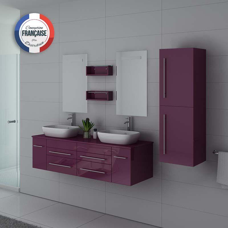 Meuble 2 vasques aubergine, meuble sous vasque aubergine, meuble 2 vasques  DIS748 – Distribain