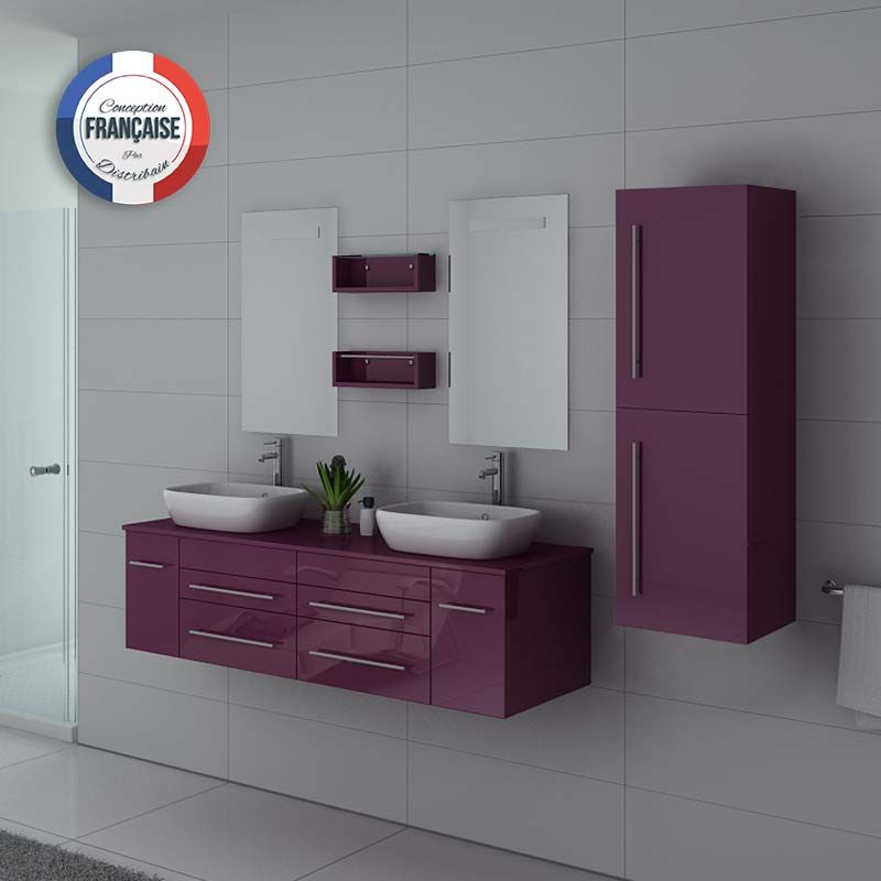Meuble double vasque DIS748 coloris Aubergine