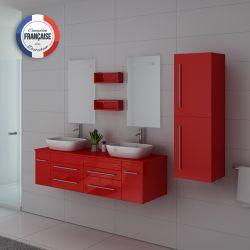 Mobilier rouge coquelicot très pop pour salle de bain deux vasques bords arrondis
