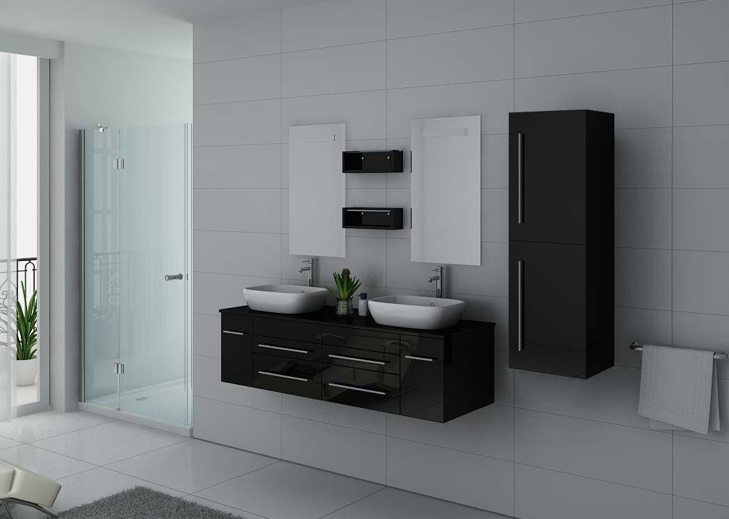 Meuble double vasque dis748 noir meuble vasque noir laqu for Meuble salle de bain double vasque