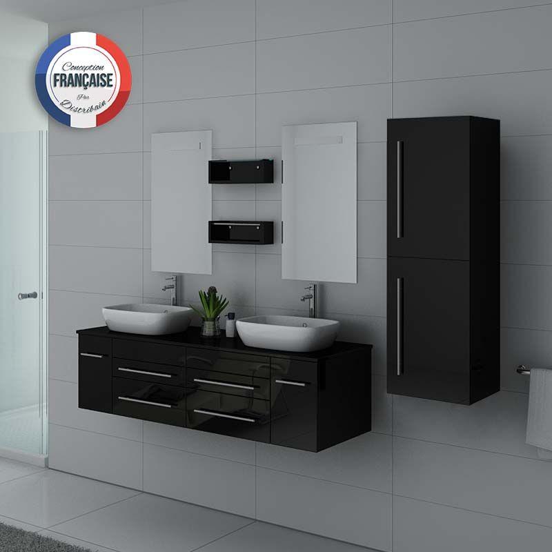 Mobilier noir laqué pour salle de bain deux vasques bords arrondis
