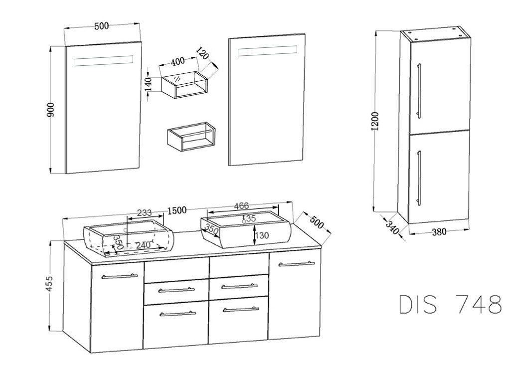 Meuble double vasque noir laqué DIS748, meuble de salle de bain ...