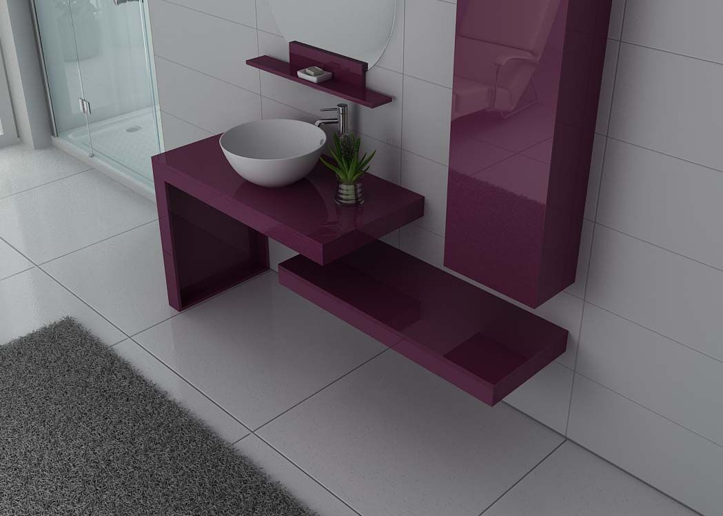 ensemble de salle de bain design aubergine monza meuble 1 vasque pour salle de bain distribain. Black Bedroom Furniture Sets. Home Design Ideas