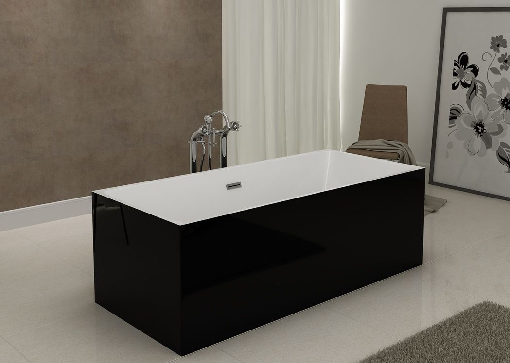 baignoire lot rectangulaire noire burano black baignoire rectangulaire au design contemporain. Black Bedroom Furniture Sets. Home Design Ideas