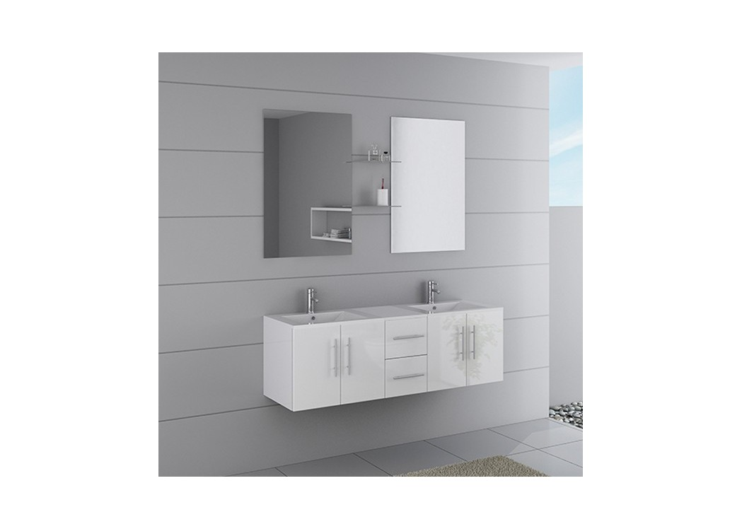 Meuble double vasque suspendu blanc dis1500b distribain for Meuble salle de bain blanc double vasque