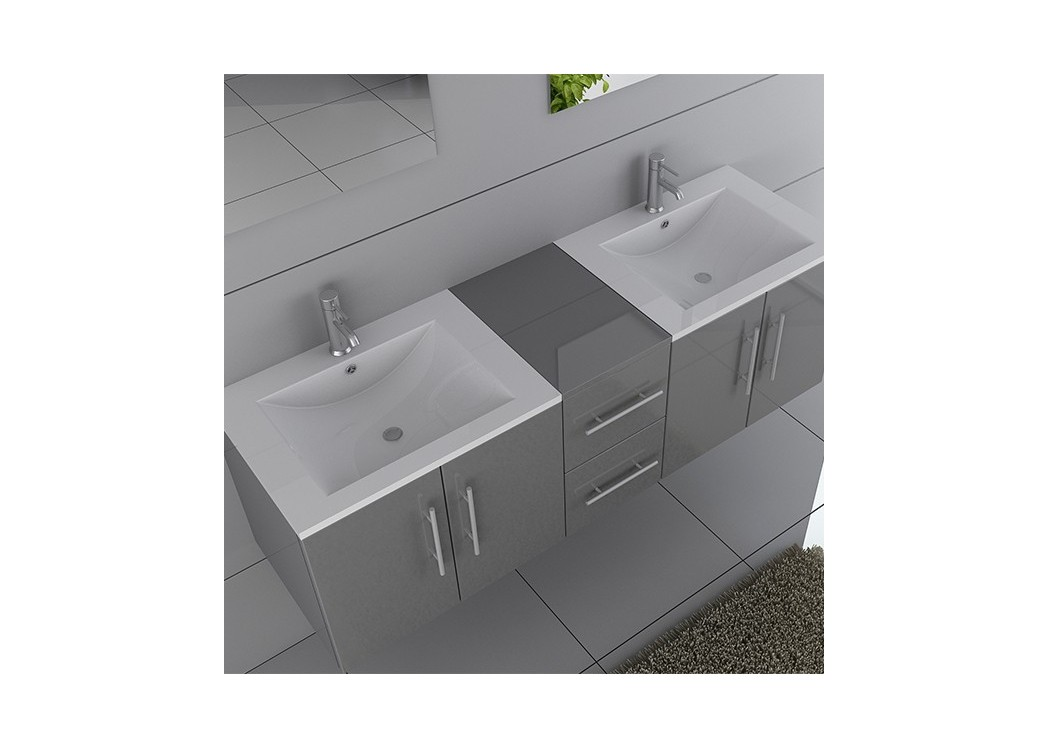 Meuble double vasque suspendu gris dis1500gt distribain for Meuble vasque solde