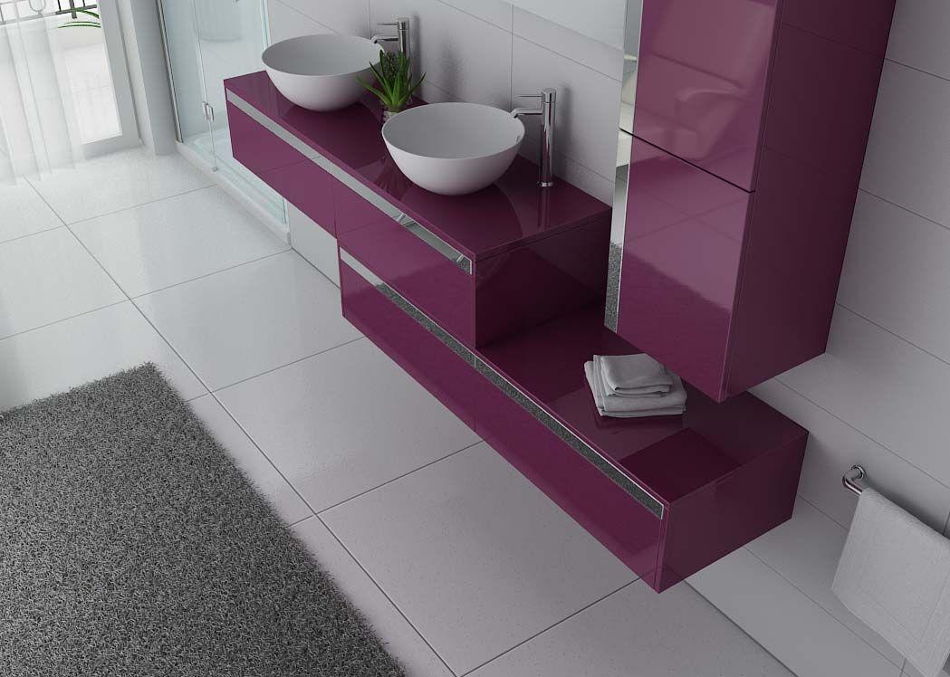 Meuble double vasque design aubergine grand meuble double - Meuble de salle de bain aubergine ...