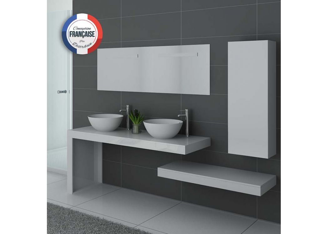 Meuble de salle de bain double vasque blanc meuble sous - Meuble double vasque blanc ...