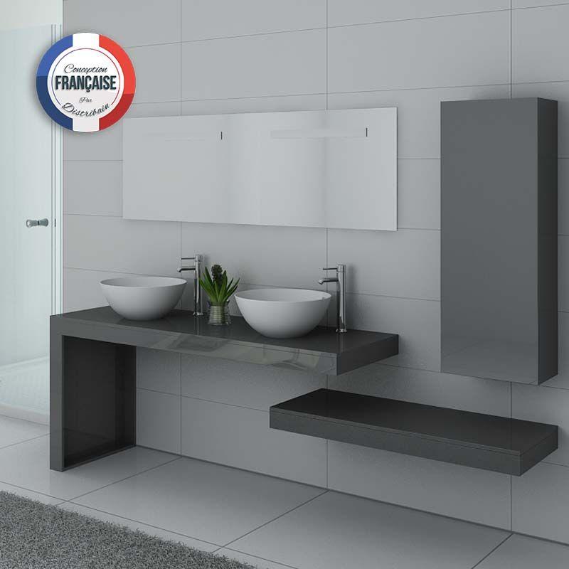 Meuble sous vasque double pour salle de bain, meuble 2 vasques gris MONZA  DUO