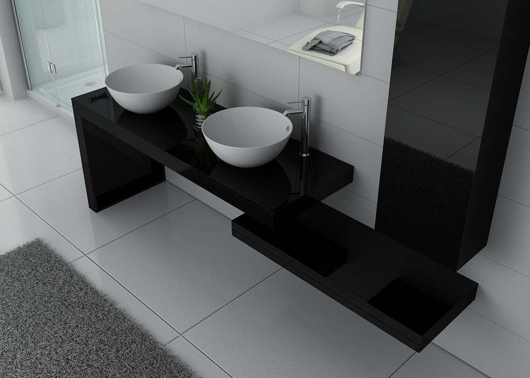 meuble de salle de bain design double vasque meuble double vasque noir laqu monza. Black Bedroom Furniture Sets. Home Design Ideas