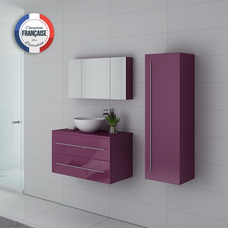 Meuble simple vasque suspendu Cosenza Aubergine