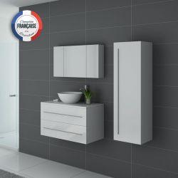 Meuble salle de bain simple vasque Cosenza Blanc