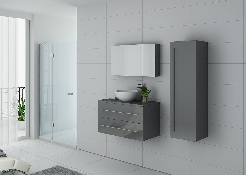 Meuble salle de bain gris taupe ensemble simple vasque 90 for Meuble vasque simple