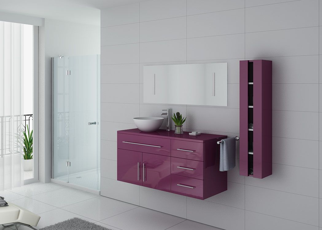 Meuble salle de bain simple vasque arezzo aubergine for Meuble vasque simple