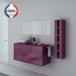 Meuble de salle de bain simple vasque AREZZO Aubergine