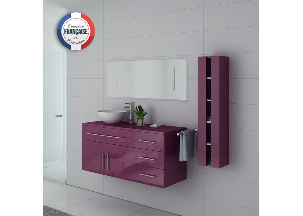 Meuble salle de bain simple vasque arezzo aubergine for Meuble de salle de bain simple vasque