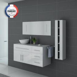 Meubles de salle de bain simple vasque AREZZO Blanc