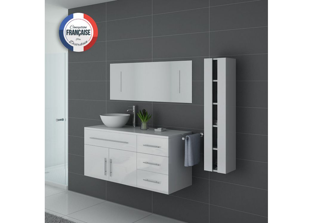 Meuble salle de bain simple vasque arezzo blanc meuble de for Meuble vasque simple