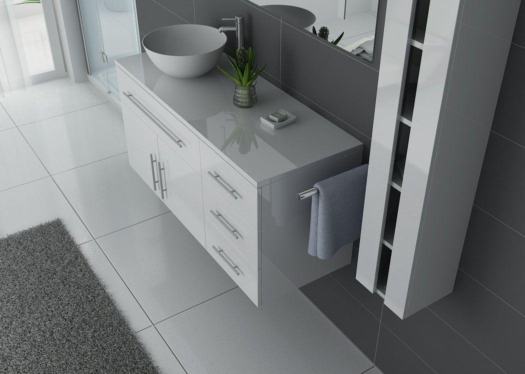 Meuble salle de bain simple vasque arezzo blanc meuble de for Ensemble salle de bain blanc