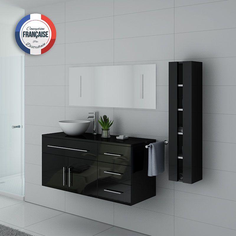 Meuble de salle de bain noir laqué 1 vasque, meuble de salle de bain noir  laqué AREZZO - Distribain