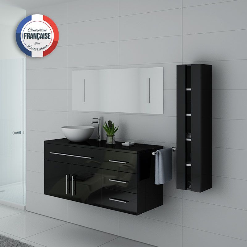 meuble salle de bain simple vasque arezzo noir meuble de salle de bain distribain. Black Bedroom Furniture Sets. Home Design Ideas