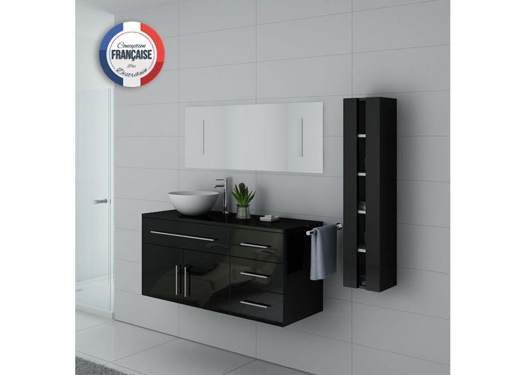 meuble de salle de bain noir laqu 1 vasque meuble de. Black Bedroom Furniture Sets. Home Design Ideas