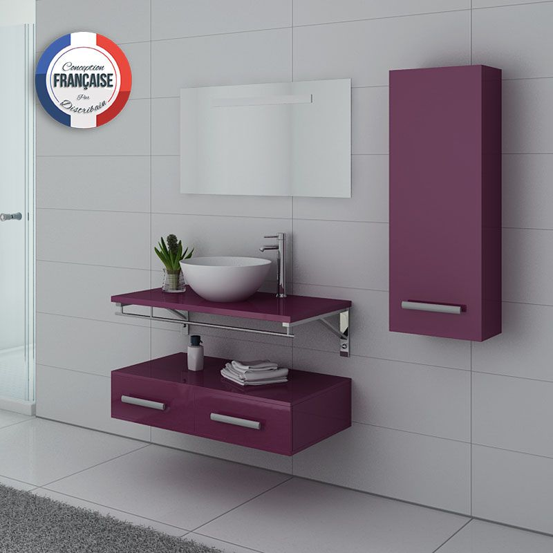 Meubles de salle de bain simple vasque Aubergine VIRTUOSE