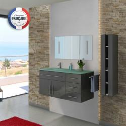 Meuble de salle de bain simple vasque gris