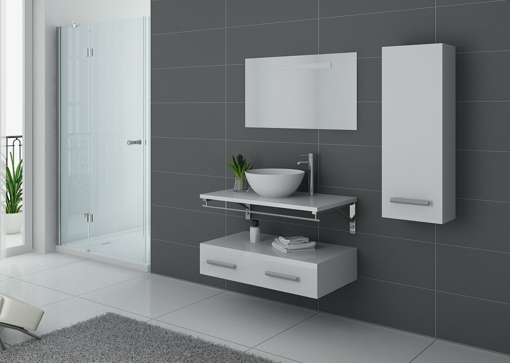 Meuble lavabo moderne 1 vasque meuble lavabo contemporain virtuose blanc distribain - Meuble salle de bain simple vasque ...