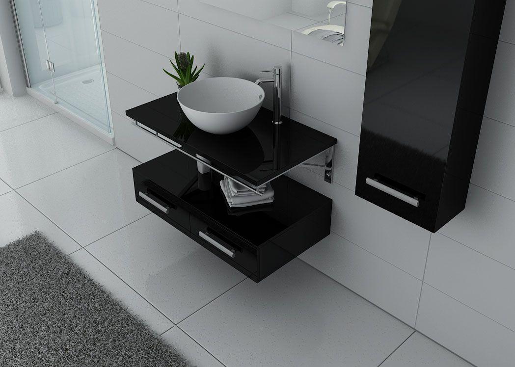 meuble de salle de bain contemporain 1 vasque virtuose noir distribain. Black Bedroom Furniture Sets. Home Design Ideas