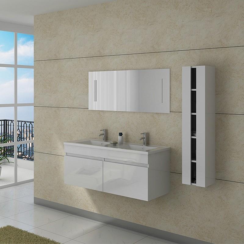 Meuble double vasque avec colonne dis980b blanc distribain - Meuble vasque colonne ...