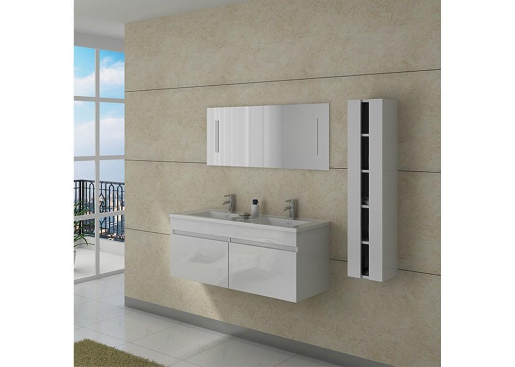 Meuble double vasque avec colonne dis980b blanc distribain for Double vasque salle de bain corian