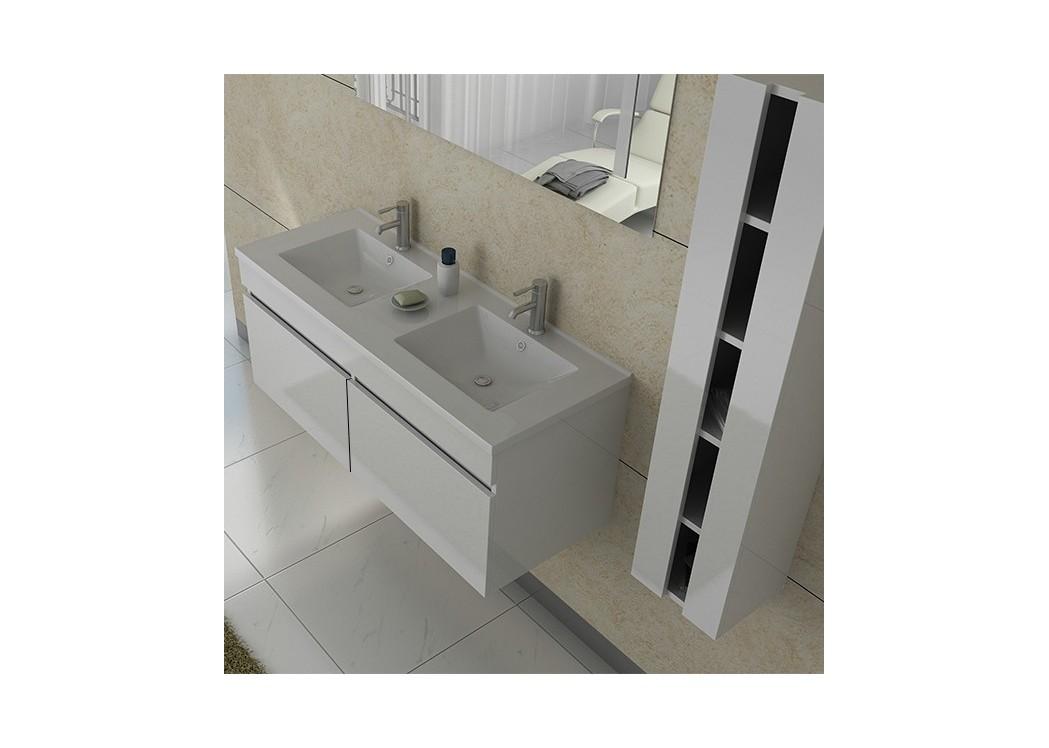 Meuble double vasque avec colonne dis980b blanc distribain for Plan pour salle de bain