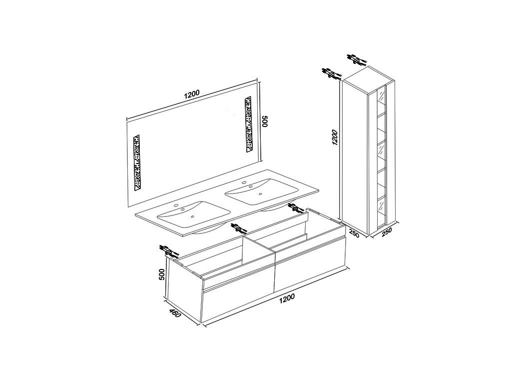 meuble double vasque avec colonne DIS980B blanc Distribain