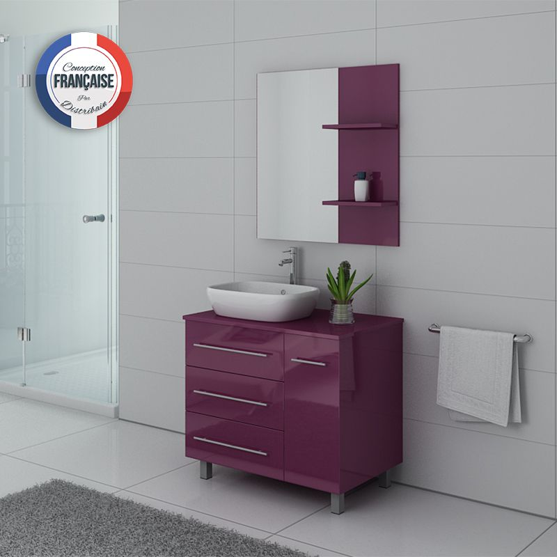 Meuble simple vasque aubergine TOSCANE