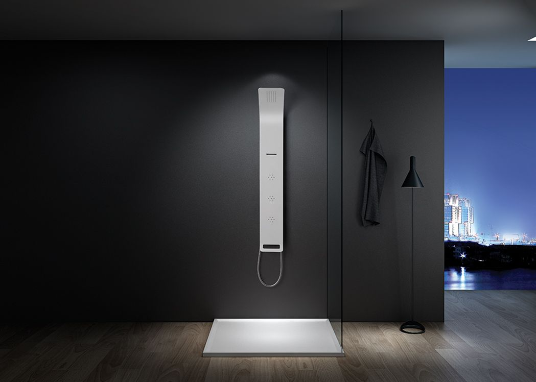 colonne de douche avec jet cascade colonne de douche avec d me de pluie et cascade distribain. Black Bedroom Furniture Sets. Home Design Ideas