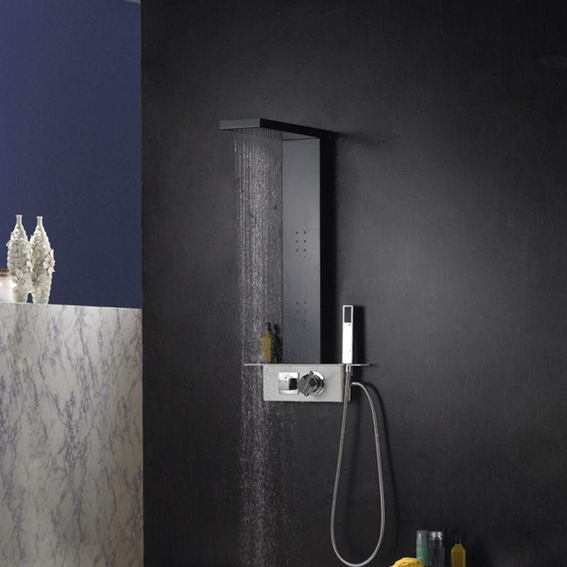 colonne de douche hydromassante haut de gamme a133 colonne de douche noire mat distribain. Black Bedroom Furniture Sets. Home Design Ideas
